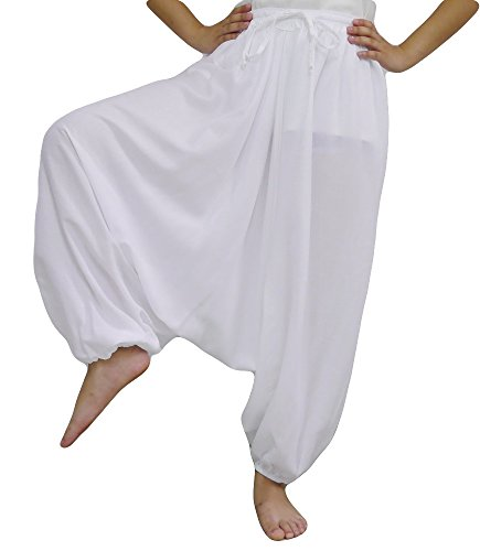 Loongcha Women's Baggy Aladdin Hippy Yoga Harem Pants Adjustable Waist (White) (Aladdin Harem)