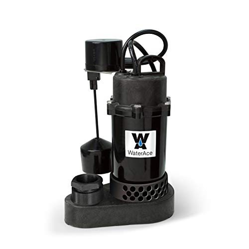 (WaterAce WA50PSV Sump Pump, 1/2 HP, Black)