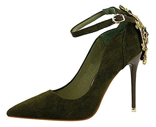 Aisun Womens Fashion Rhinestone Dressy Pointed Toe Low Cut Buckled Stiletto High Heel Pumps Shoes With Ankle Strap Dark Green J8ceK