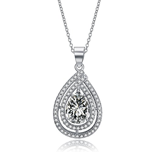 Lux and Glam-Pear-Shaped Cubic Zirconia Double Halo Teardrop Bridal Necklace Pendant - Rhodium Plated Wedding - Teardrop Faux Necklace