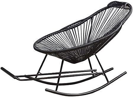 ADHW Mecedora, Negro Rattan Mecedora Muebles de jardín, tumbonas reclinables reclinables, sillas de Ruedas for Patio Piscina, Silla de jardín: Amazon.es: Hogar