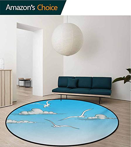 RUGSMAT Seagulls Modern Simple Round Rug,Seagulls Flying in an Ombre Sky Background with Clouds Minimalistic Sketch Drawing Pattern Round Area Rugs Thin,Diameter-31 Inch White Blue