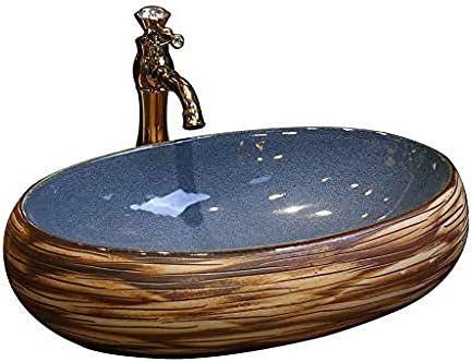 オーバル洗面レトロセラミックホテルアンチスプラッシュ洗面バスルームのシンク