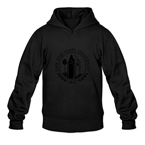 fan products of San Jose State University Seal.svg Cool 100% Cotton Black Long Sleeve Hoodie For Mens Size M