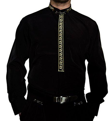 Del Pierro Herren Hemd Schwarz o Weiß mit Gold Stick und Stehkragen  Herrenhemd Langarm  Amazon.de  Bekleidung c53e2cddca