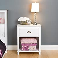Prepac Yaletown 1 Drawer Tall Nightstand, White
