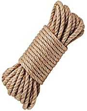 LUOOV 100% natuurlijke hennep koord touwen 6mm dikte en sterke jute touw sjerp, Jute String, Hessische touw, Camping Touw, Tuin, varen, huisdieren, Klimmen touw, Multi Purpose Utility Sisal Twine Touw, Jute Twine voor kunst ambachten DIY decoratie Gift Wrapping