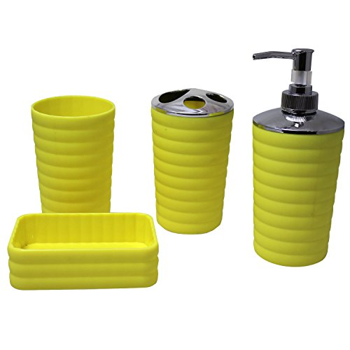 Justnile 4pcs plastic bathroom accessory set yellow easy for Bathroom accessories plastic