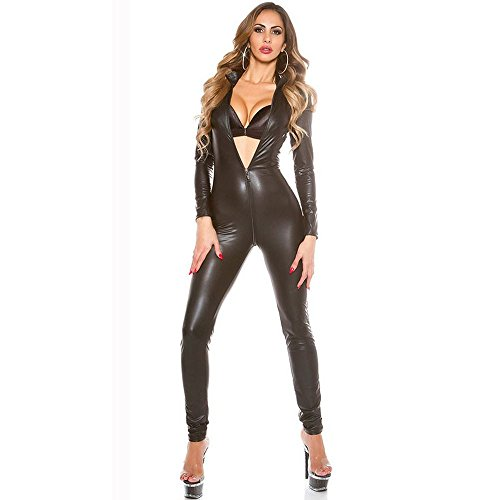 Sinomdy Sexy Jumpsuit for Women's Vinyl Catsuit Latex Faux Leather Bodysuit Zipper Open Crotch PVC Leotard Clubwear Wetlook Costume (Black Latex Bodysuit Costume)