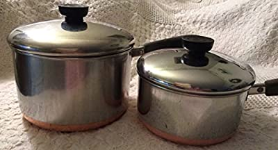 Vintage Revere Ware SS Copper Bottom 1 1/2 Qt, 3 Qt Saucepan set w lids 4pc