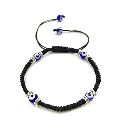 2708B Classic Evil Eye Bracelet Braided Black String Macrame Kabbalah Jewelry for Women