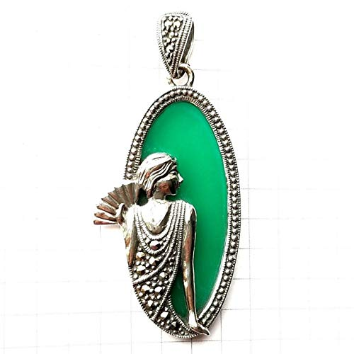 (Jade Stone Cameo Lady Pendant w/Marcasite Vintage Accents .925 Sterling Silver ВК-106 )