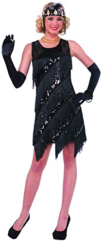 Forum Novelties Women's Midnight Dazzle Flapper Costume Dress, Black, (Black Flapper Dress Halloween Costumes)