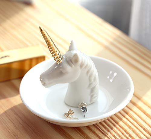 PUDDING CABIN Unicorn Cat Ring Holder Dish Jewelry Tray Trinket Dish Girls Women Birthday