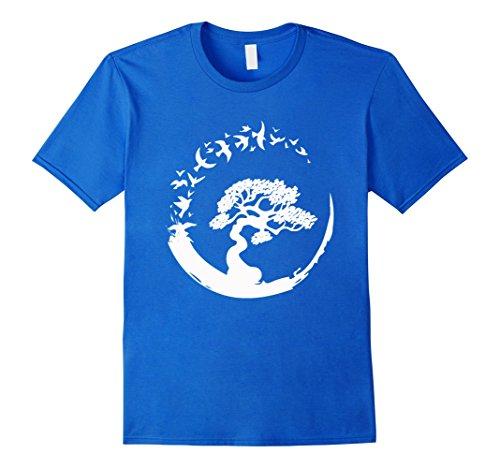 (Womens Bonsai Tree T Shirt Japanse Bonsai Tree Enso Zen Small Royal Blue)