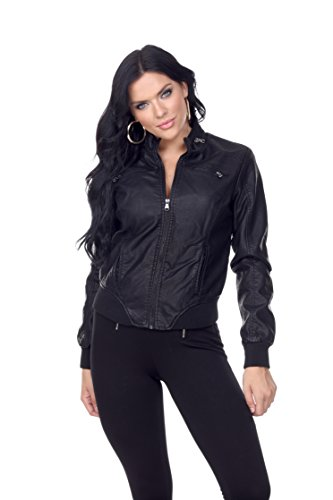 n Leather Jacket With Ribbing and Stitch Detail (Small, Black) (Stitch Detail Jacket)