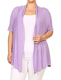 Women's Plus Size Solid Short Sleeves Open Front Cardigan. Made In USA