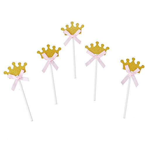 Looching Pack of 30 Crown Cupcake Toppers Picks Gold Glitter Cake Toppers for Baby Shower Decorations Birthday (Princess Baby Shower Cake)