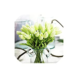 Artificial Tulips 30 Pcs Beauty Real Touch Flowers Latex Tulips Flower Artificial Bouquet for Wedding,Light Green 39