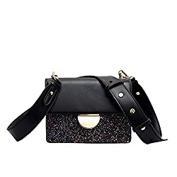 Women Solid Sequin Leather Flap Handbag