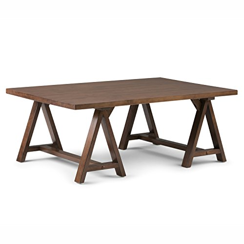 Simpli Home Sawhorse Solid Wood Coffee Table,