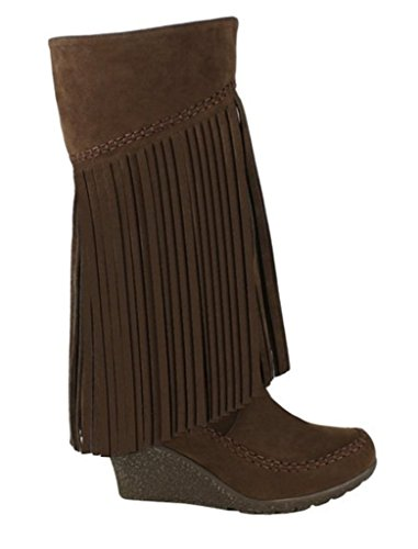 Mark and Maddux Bernice-02 Womens Fringe Moccasin Wedge Mid-calf suede Boots Brown YoI3Ejl1KV