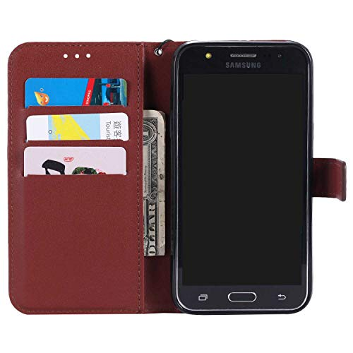 UNEXTATI Galaxy J1 2016 Case, Leather Magnetic Closure Flip Wallet Case with Card Slot and Wrist Strap, Slim Full Body Protective Case (Brown #6) by UNEXTATI (Image #1)
