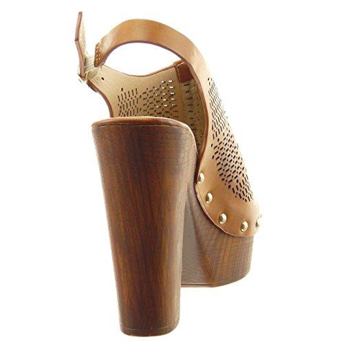 Sopily - Chaussure Mode Sandale ouverte Cheville femmes perforée clouté Talon haut bloc 12 CM - Intérieur synthétique - Camel