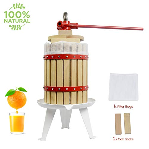 Heavy Duty Oil Filter Crusher - Fruit Wine Press 3.2 Gallon Solid Wood Basket Cider Press Apple Press Berries Press Wine Making Press