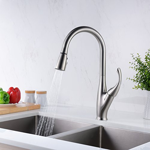 GICASA Faucet Modern Solid Brass Brushed Nickel Kitchen Sink ...