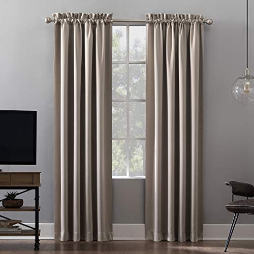 Sun Zero Oslo Theater Grade Extreme 100% Blackout Rod Pocket Curtain Panel, 52' x 84', Stone
