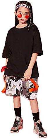 110-180cm キッズ ダンス衣装 ヒップホップ HIPHOP 半袖トップス 迷彩ズボン ゆったり 練習着 子供服 チアガール 女の子 男の子 韓国風 男女兼用 子供服 ジャズダンス ステージ衣装 発表 体操服 練習着 イベント 団体服 演出服 (トップスのみ,110)