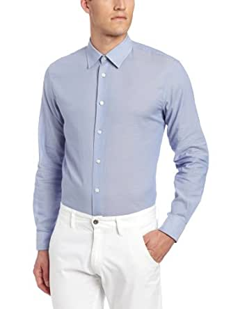 John Varvatos Star USA Men's Long Sleeve Oxford Slim Shirt, Sky, Small