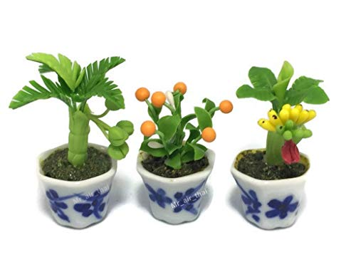 3pc Miniature Flower Clay Dollhouse Fairy Garden Mini Plant Trees Ceramic Paint Furniture Bundles Artificial Flowers Tiny Orchid #094