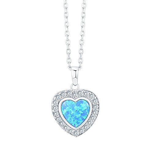 PAVOI 14K White Gold Plated Heart Shape Created Blue Opal Necklace
