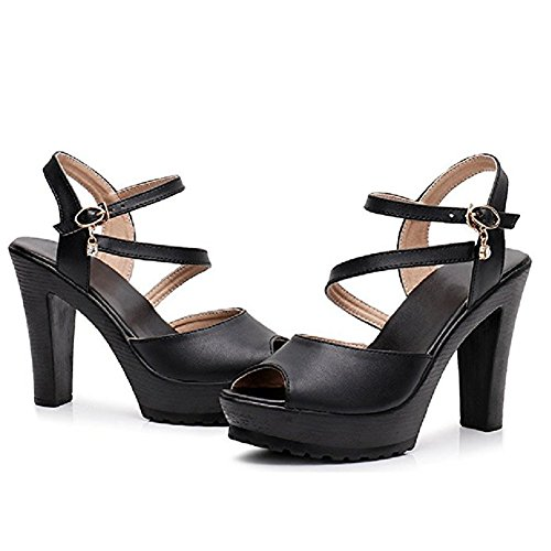T-JULY Womens Ladies Fashion Platform High Heel Leather Sandals Ankle Strap Open Toe Slides Sexy Dress Wedding Slippers from T-JULY