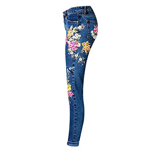 Donna In Pantaloni Da Primavera Zip Vita Rlwfjxh Donn Ricamati Fiori Birds Vintage 40 Denim Alta Con A Jeans xUgxzPqAw