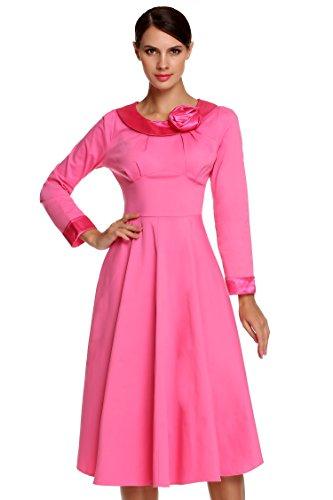 Acevog Vestidos Largos de Fiesta Midi Vintage de Flores Mangas Largas Cuello Clásico Rosa