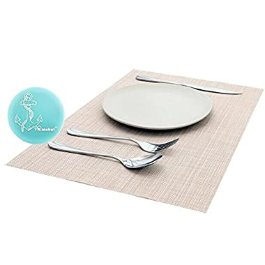 Rimobul Crossweave Woven Vinyl Placemats, Set of 6 (Basic-Beige)