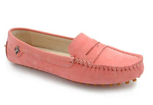 Minitoo - Mocasines de ante para mujer Pink-Nubuck Leather