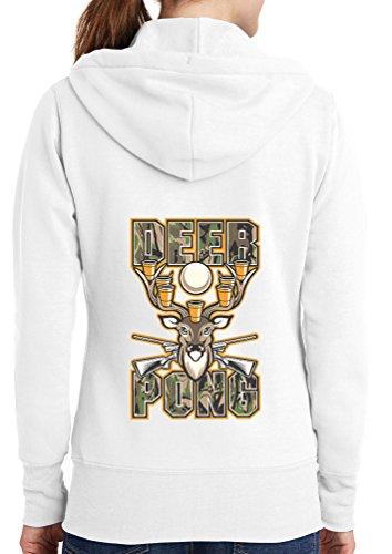 Womens Deer Pong Full Zip Hoodie, White, 4X