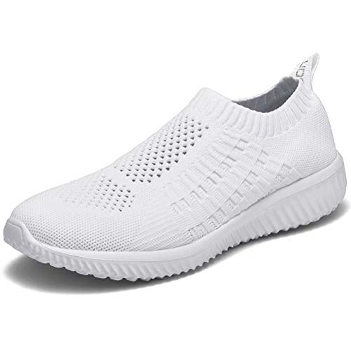 LANCROP Women's Comfortable Walking Shoes - Lightweight Mesh Slip on Athletic Sneakers 6.5 US, Label 37 All White