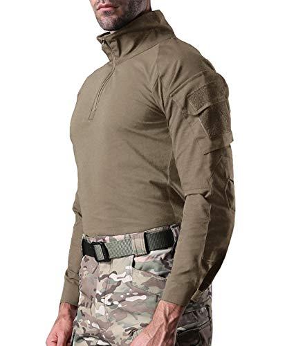 KEFITEVD Chemise de Combat Homme Chemise Camouflage Militaire Tactique T-Shirt Slim Fit Chemise à Manches Longues 6