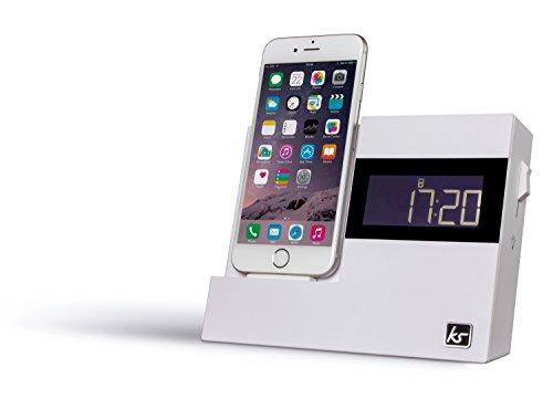 KitSound XDOCK3 Radio Uhr Dockingstation Ladegerät mit Lightning Anschluss für iPhone 5 / 5S / 5C / SE / 6 / 6 Plus / 6S / 6S Plus, iPod Nano 7. Generation, iPod Touch 5. Generation (mit EU-Netzstecker) - Weiß