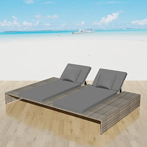 Tidyard Double Sun Lounger with Cushion as Adjustable Daybed, Lounge Bed Garden or Patio Poly Rattan Gray 82.7inch x 55.1inch/63.4inch x 9.1inch/24.8inch (L x W x H) (Bed Lounge Day)