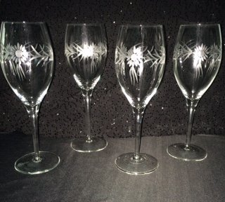 Daisy Etched Cut Crystal Stemware Wine Glass Goblet Glassware Set of ()