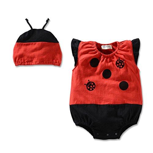 [Bebone Summer Baby Infant Boy Girl Fruit Animal Romper Jumpsuit with Hat (18-24M, Ladybird)] (Fruit Hat Lady)