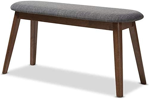 Baxton Studio Easton Upholstered Bench in Dark Gray and Walnut Brown