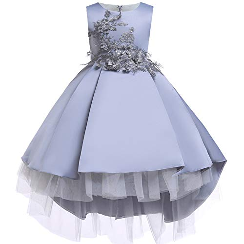 Baby Girls Infant Embroidery Dress Kids Gold Wedding Toddler High-End Dress Flower Tutu Formal Party Dress Girls,D0582-Gray,8