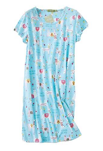 - Inadays Women's Sleepwear Cotton Sleep Tee Short Sleeves Print Sleepshirt SQ002-Alpaca-M